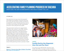 Accelerating family planning progress in Tanzania