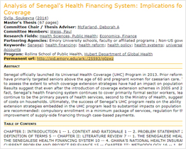 Analysis of Senegal's health financing system