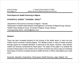 Fiscal Space for Health Financing in Nigeria