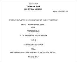 Guatemala Project Appraisal Document (GFF)