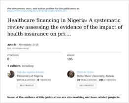 Healthcare financing in Nigeria