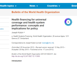 ealth Financing for Universal Coverage and Health System Performance