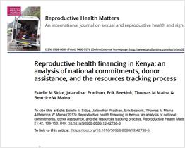 Reproductive health financing in Kenya