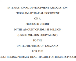 Tanzania Project Appraisal Document