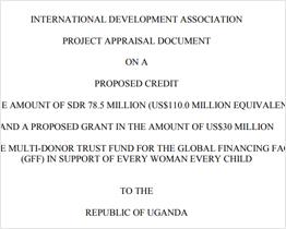 Uganda Project Appraisal Document